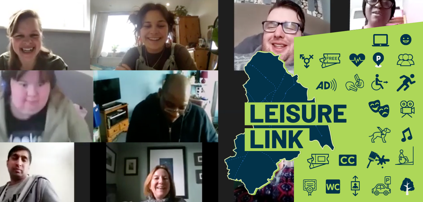 Leisure Link banner showing lots of people chatting on a video call